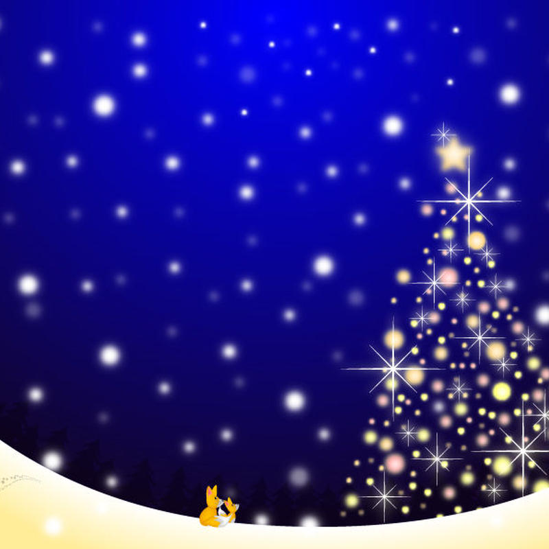 A4イラスト029 Snow Light Tree