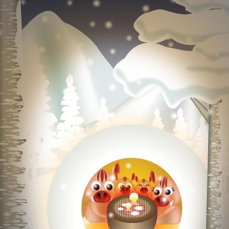 A4イラスト081 雪山団らん