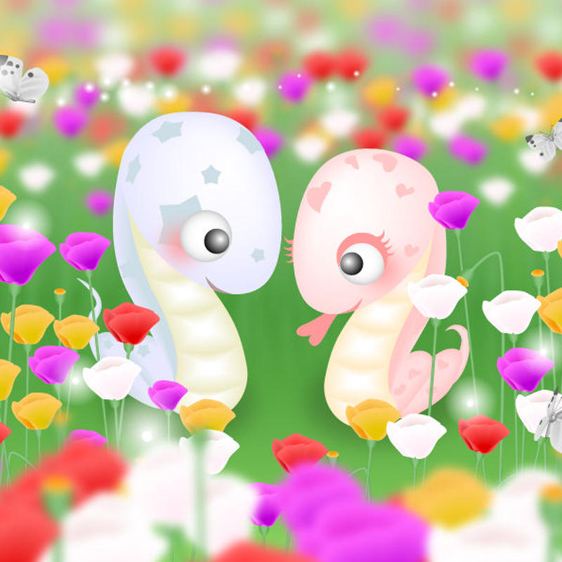 A4イラスト087 Love Snake