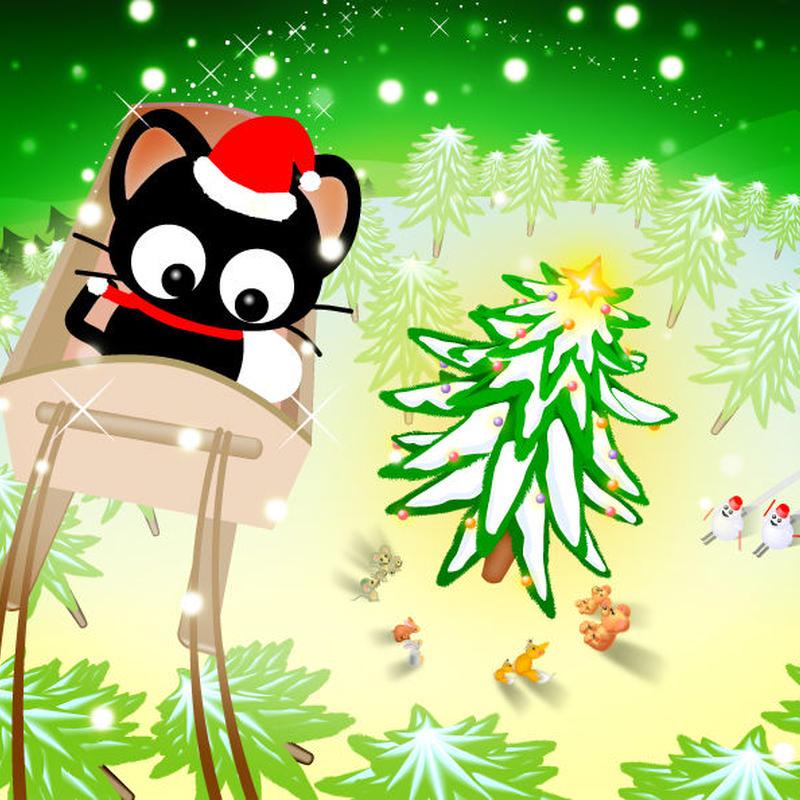 A4イラスト077 黒猫サンタのりっちー君