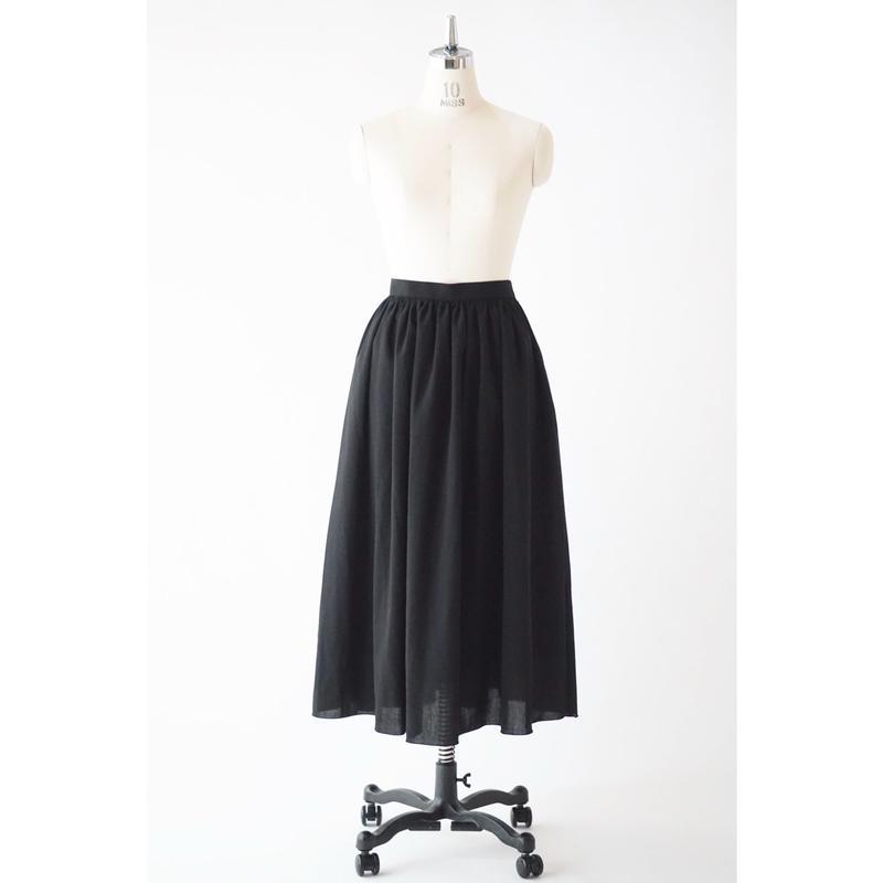 リネンライクギャザースカート/ブラック(No.1905201)