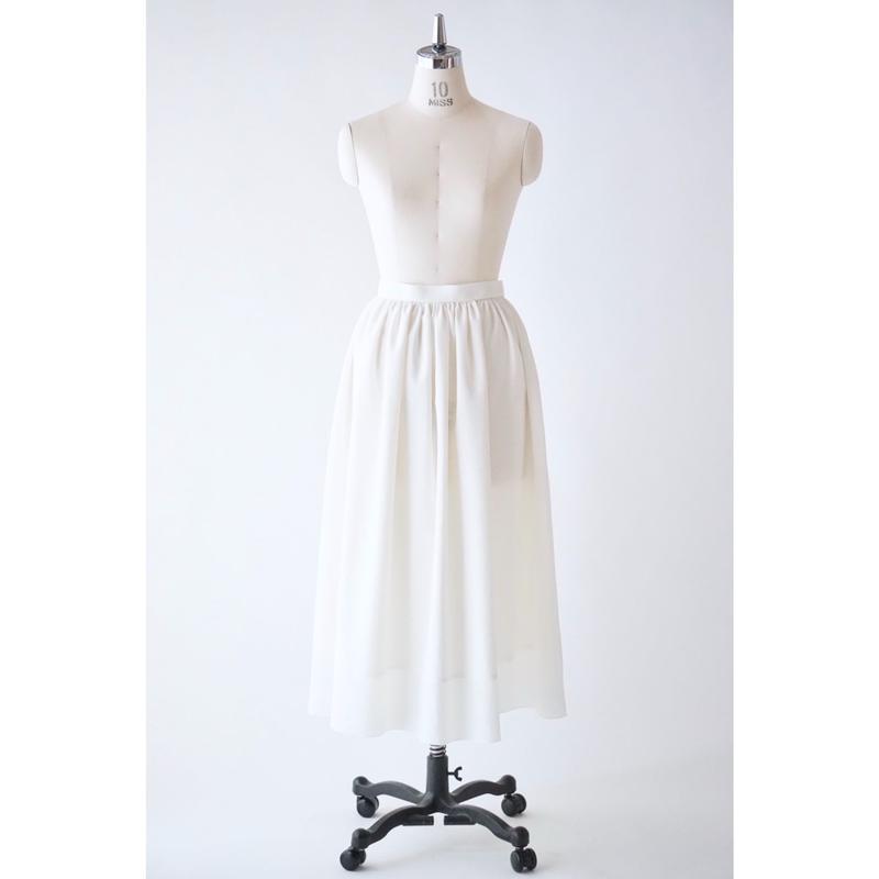 リネンライクギャザースカート/ホワイト(No.1905201)