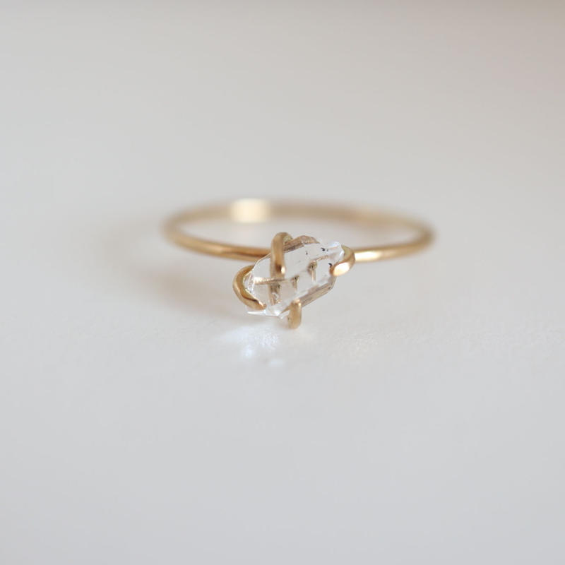 k18&DIAMOND QUARTZ RING