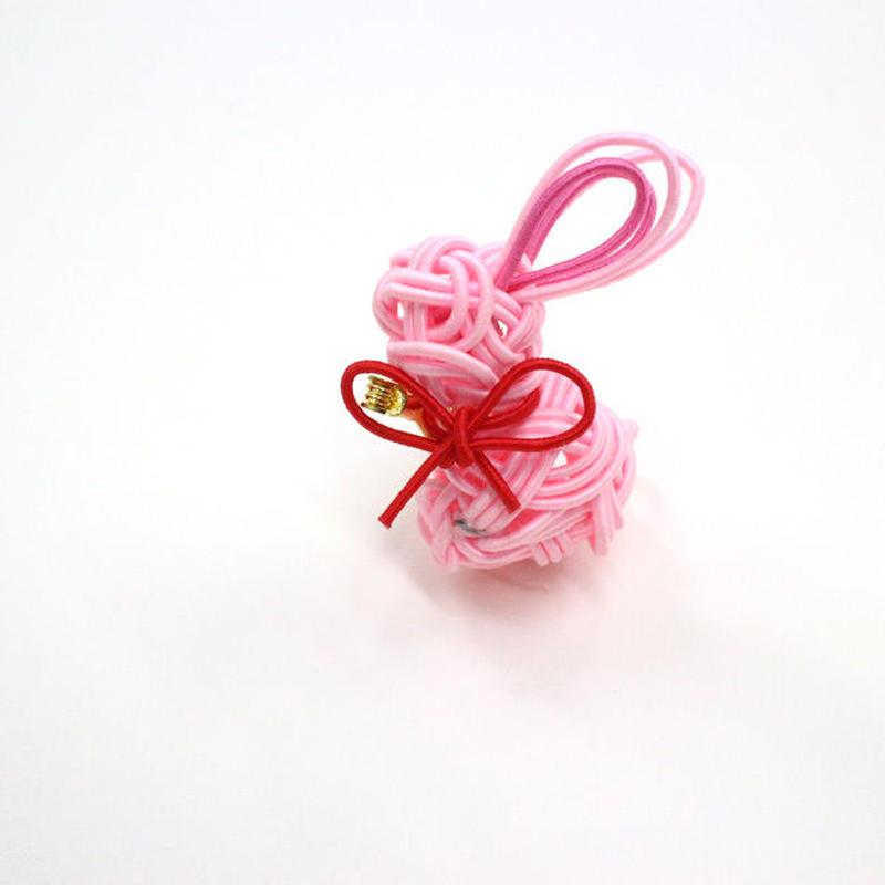 【水引結び】ウサギ・ブローチ(ピンク)