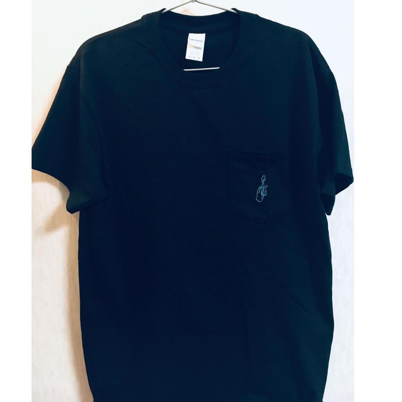 スプーン曲げ刺繍ポケットTシャツ  ブラック