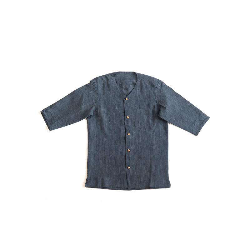 [メンズシャツ]リネン/襟なし紺