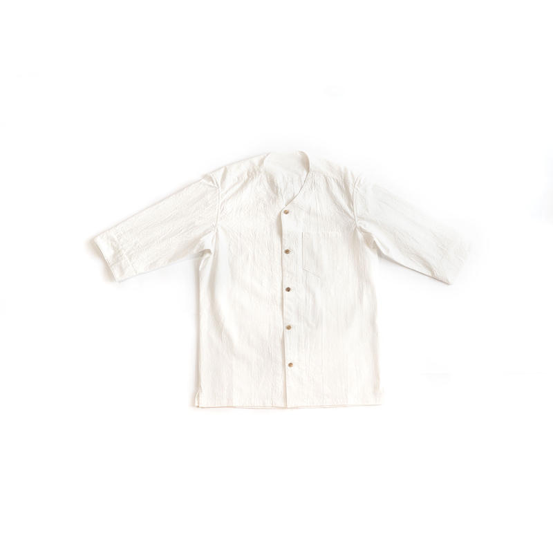 [メンズシャツ]コットン/襟なし白