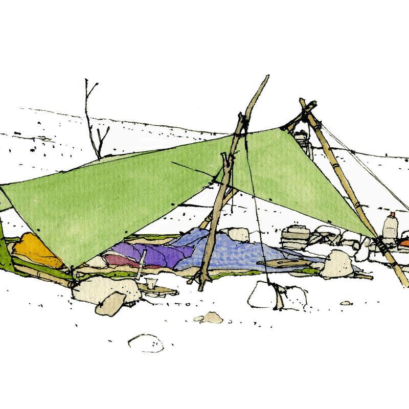 イラスト 無人島タープ