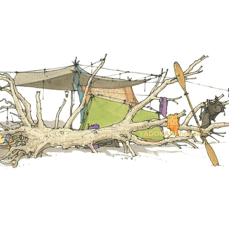 イラスト 無人島・タープ浮原キャンプ