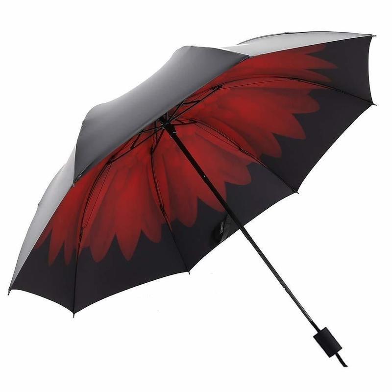 晴雨兼用 UV傘 内側花プリント&ぴーかんなっつチョコレートセット