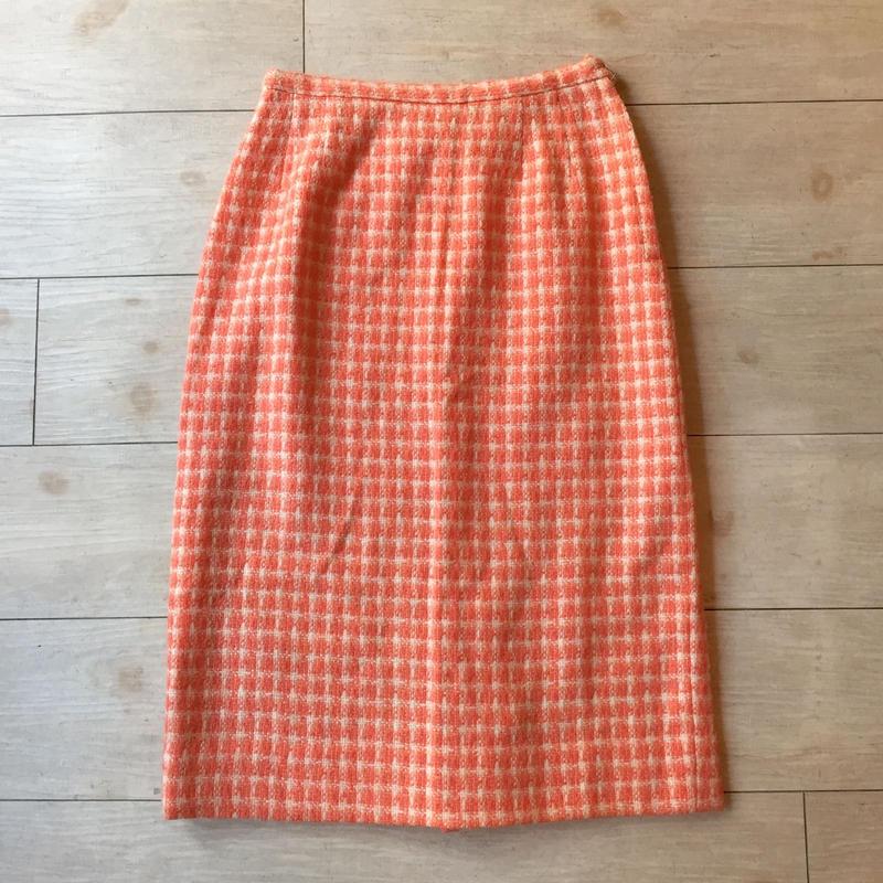 vintage 1960's~70's  サーモンオレンジ ツイードスカート