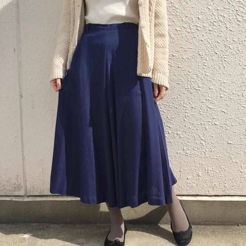 1950's ネイビーリネン混フレアスカート