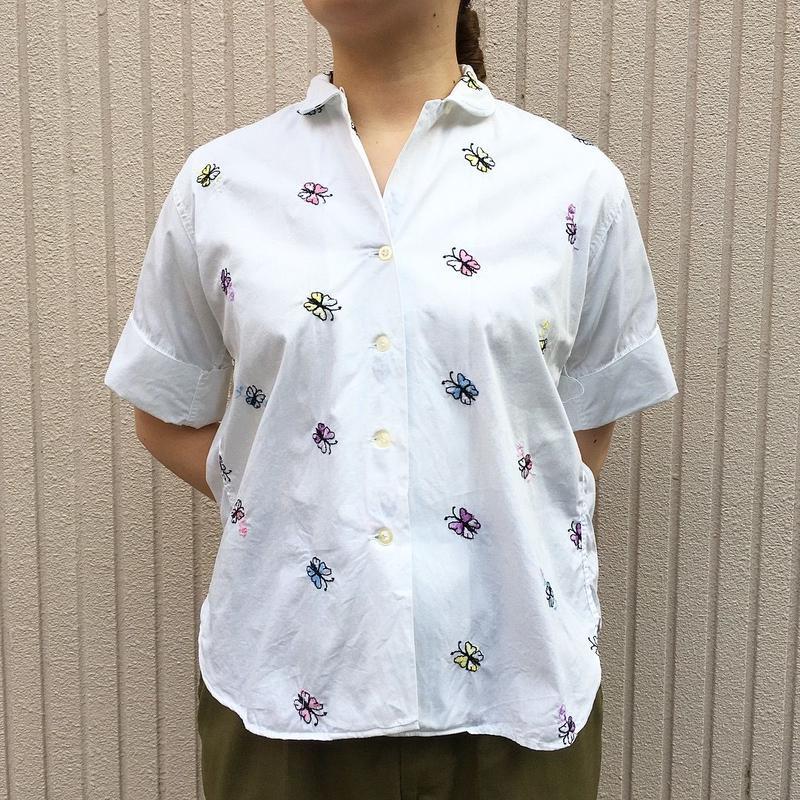 50〜60's 蝶々の刺繍 半袖シャツ