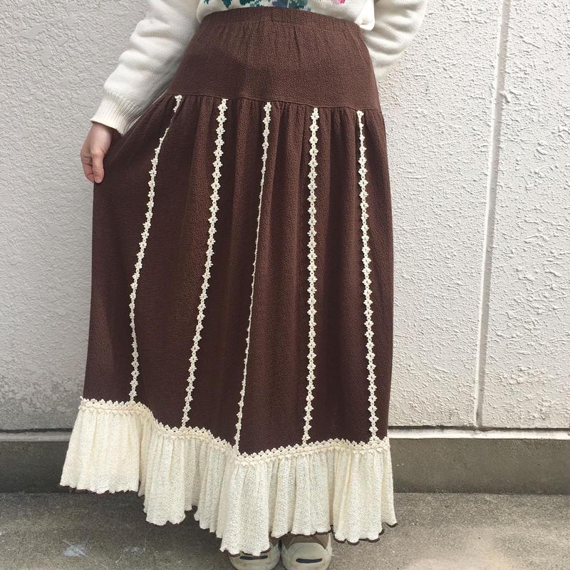 ブラウンレースフリルティアードスカート