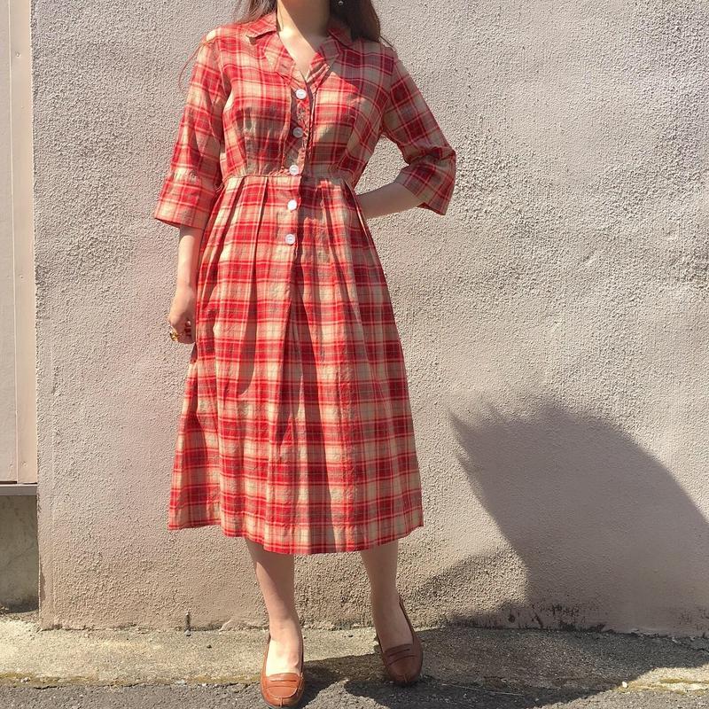 "1960's  ""PENNEY'S""  レッドチェック柄ワンピース"