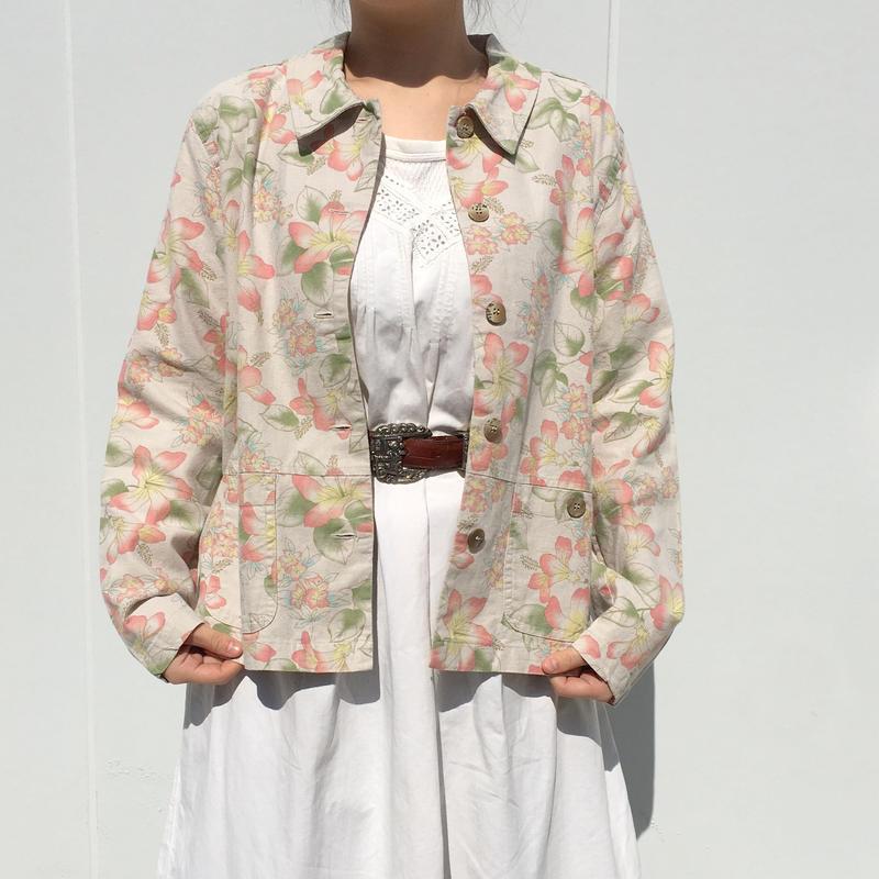 花柄リネン混ジャケット