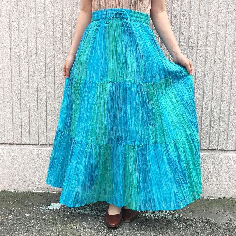 ブルーグラデーションインド綿スカート