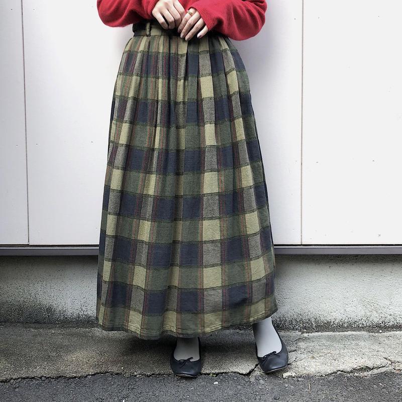グリーン チェック柄コットンスカート