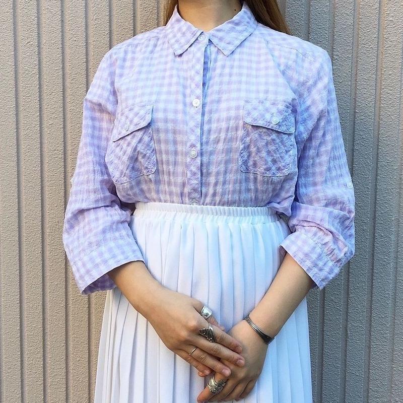 パステルラベンダー ギンガムチェック柄半袖シャツ