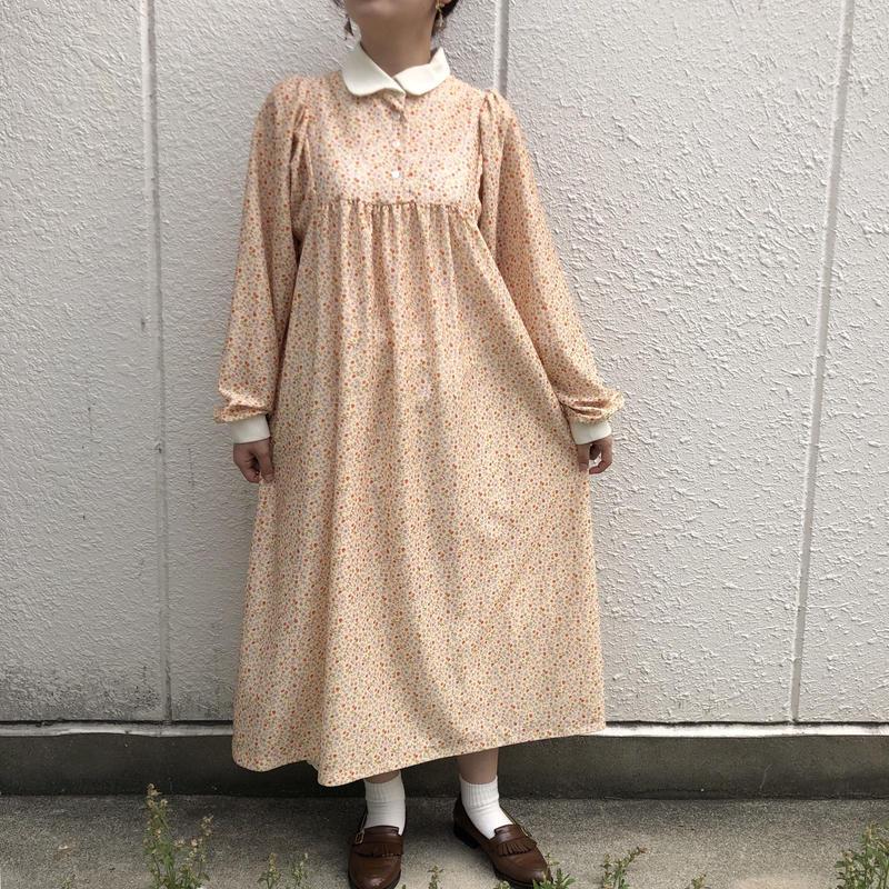 "1970's ""JC  Penney"" 小花柄 白襟ワンピース"
