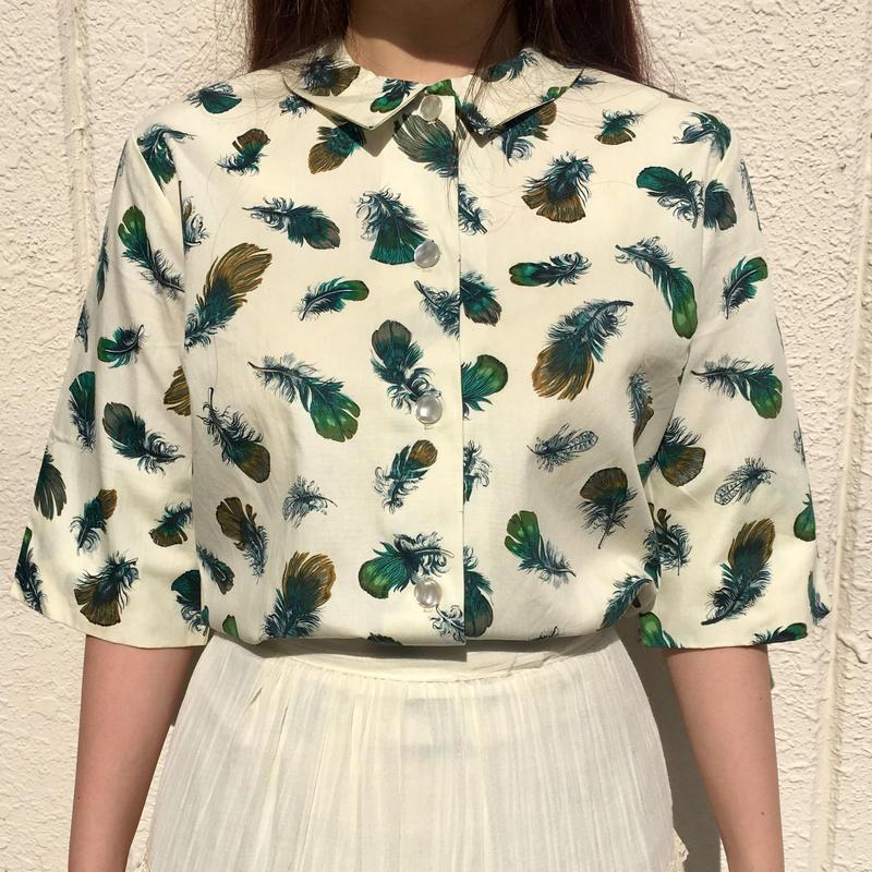 1960's 羽根柄半袖シャツ