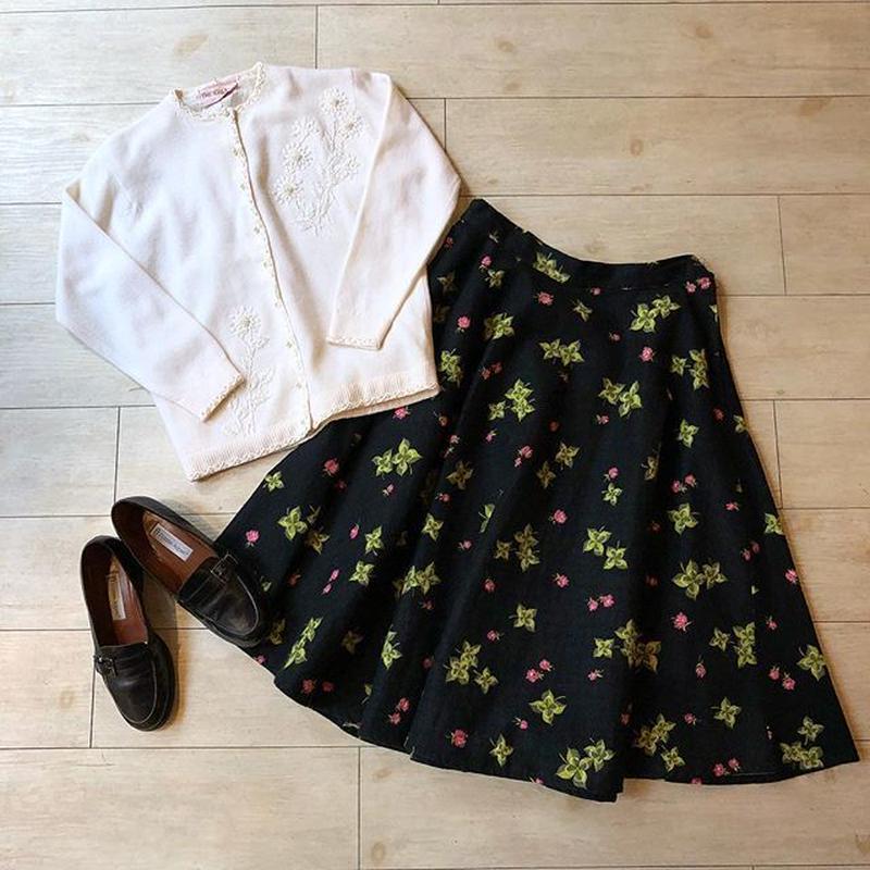 vintage 50's 四つ葉のクローバー柄スカート