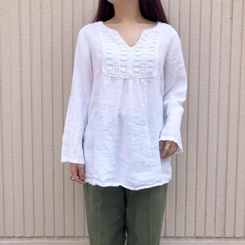 リネン ホワイトシャツ