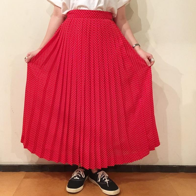 USA製 レッド×ホワイト ドット柄 プリーツスカート