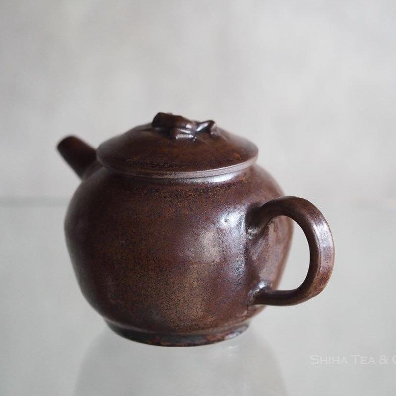 Jinpachi Ogawa, Iron Glaze, Frog Lid, Japanese Kyusu Teapot