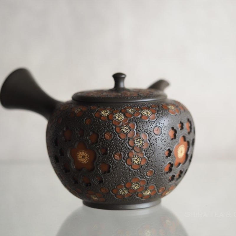 Red Plum Green Clay double wall lacy Japanese Tokoname Kyusu Teapot
