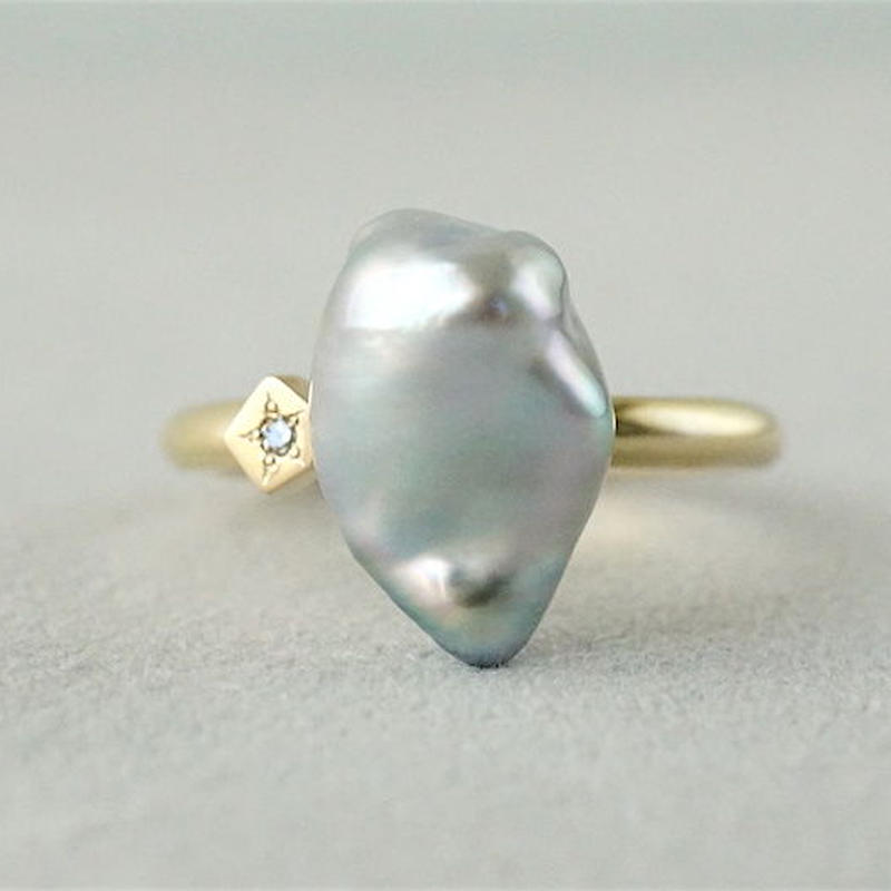 Tahitian pearl ring / Polygon / Dia