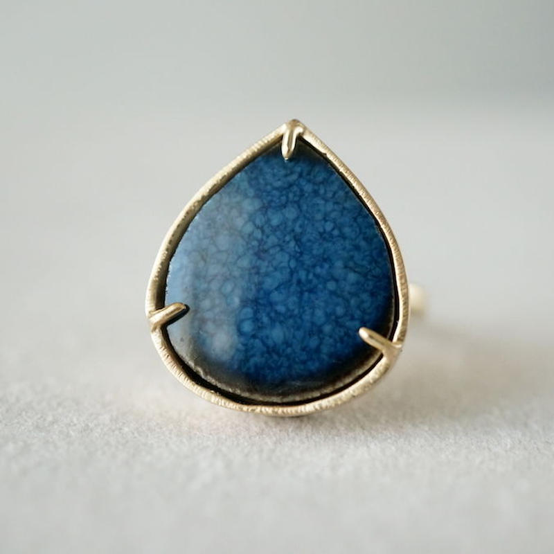 Vintage tile ring / Drop / Navy