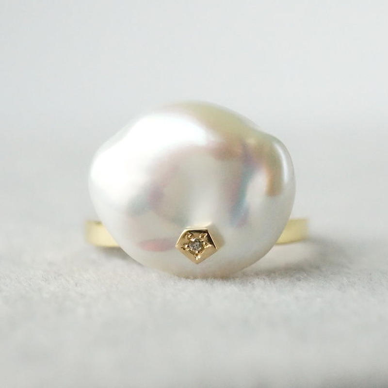 Freshwater pearl ring / Polygon / Dia