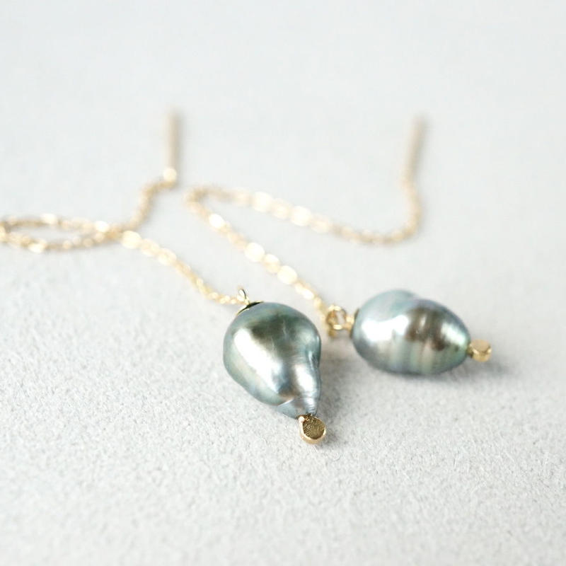 Tahitian pearl earrings / Chain