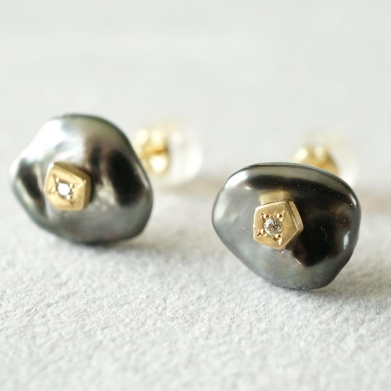 Tahitian pearl earrings / Polygon / Dia