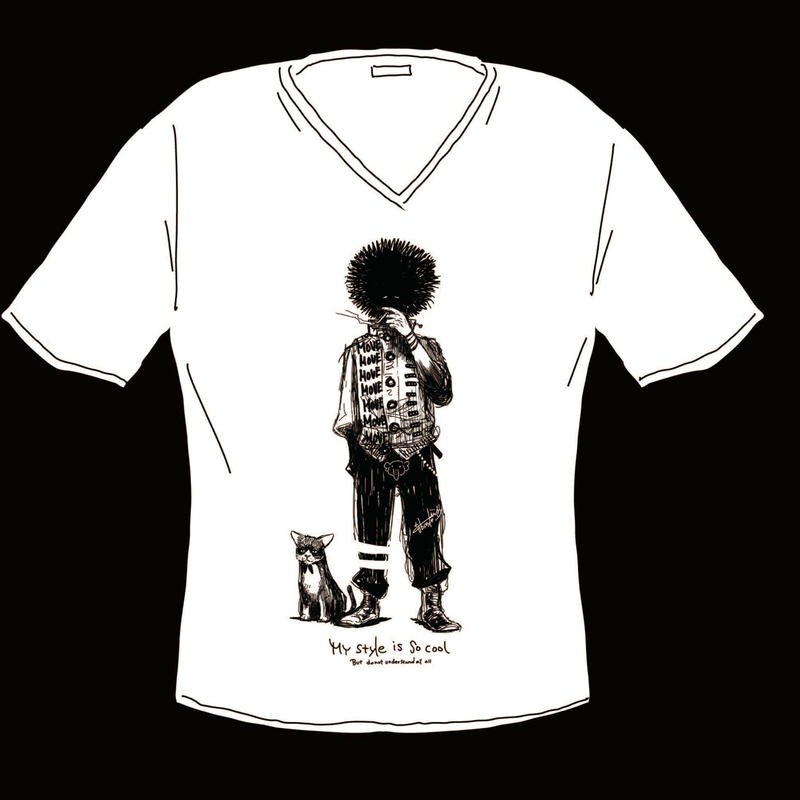 VネックTシャツ-L