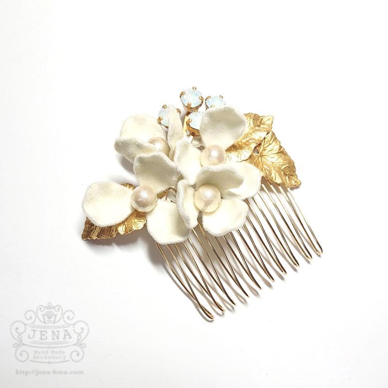 Velvet Flower Comb 【ivory】
