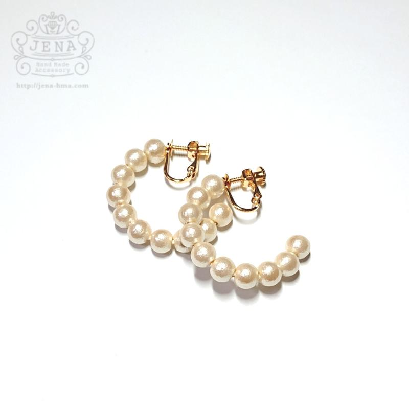 Simple cottonpearl hoop 6mm イヤリングのみ