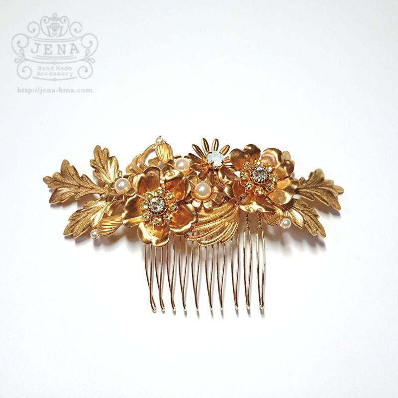 Antique brass Flowers  Hair accessory 1