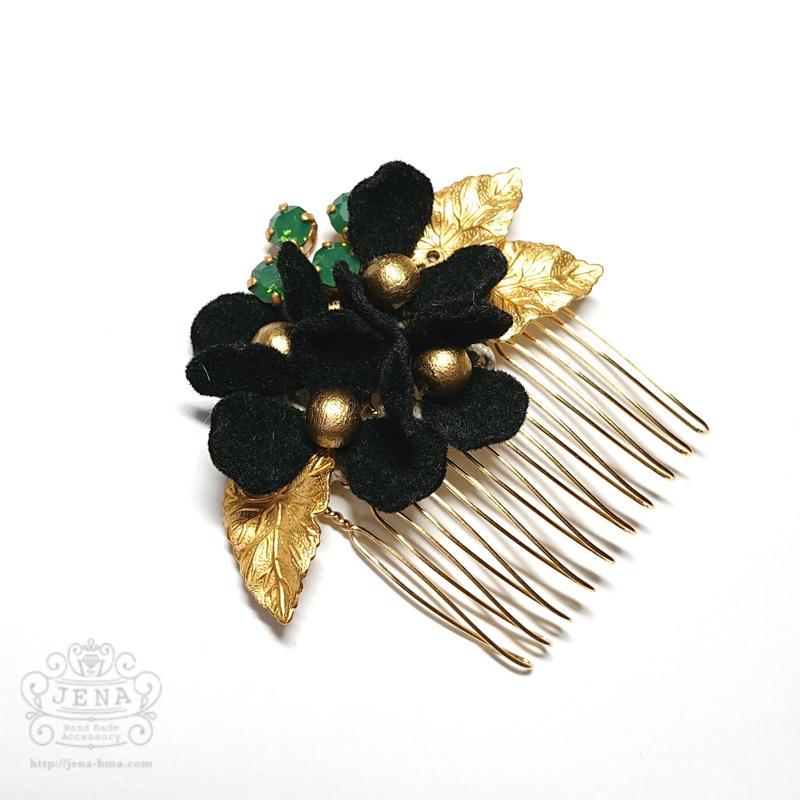 Velvet Flower Comb 【black】