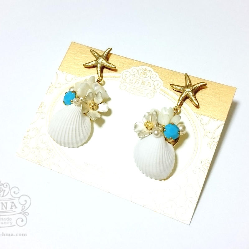 Go to the SEA! REAL SHELL 【Turquoise×white flower】イヤリング/ピアス