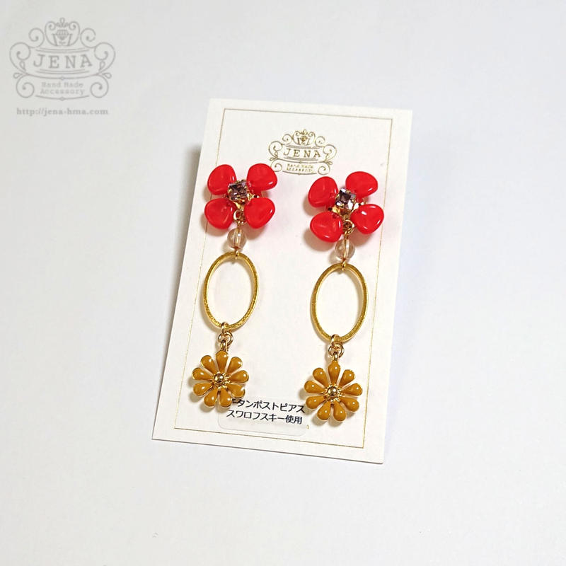 Four petals ×  oval ring 【RED】イヤリング/ピアス