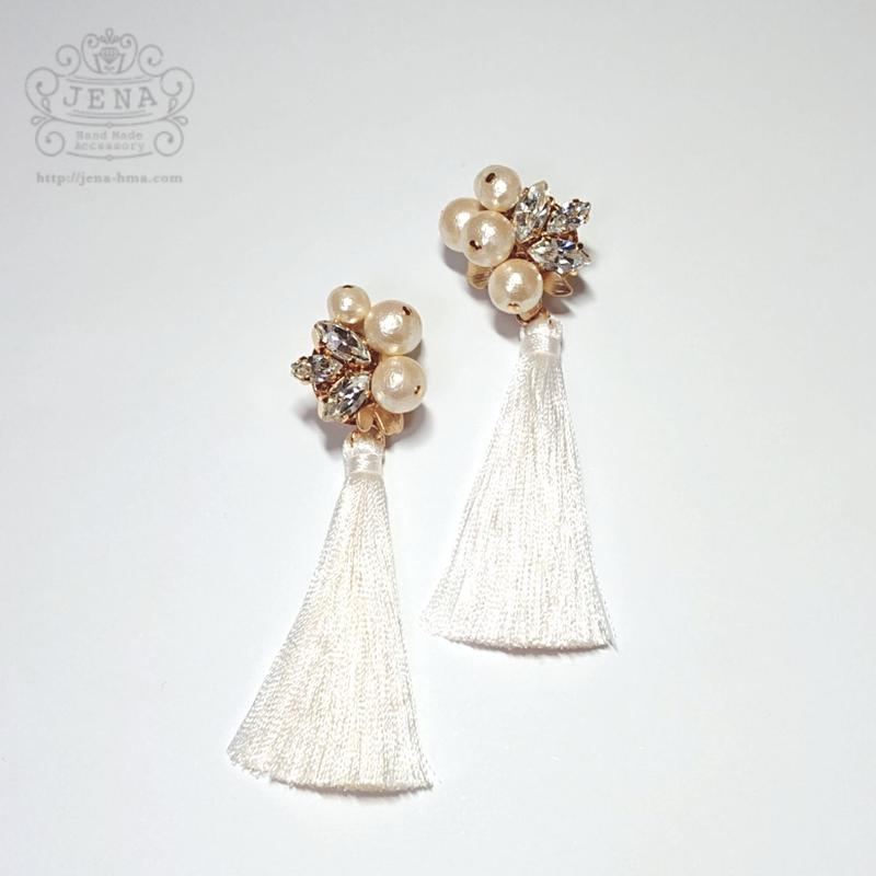 Cotton pearl crystal bouquet イヤリング/ピアス