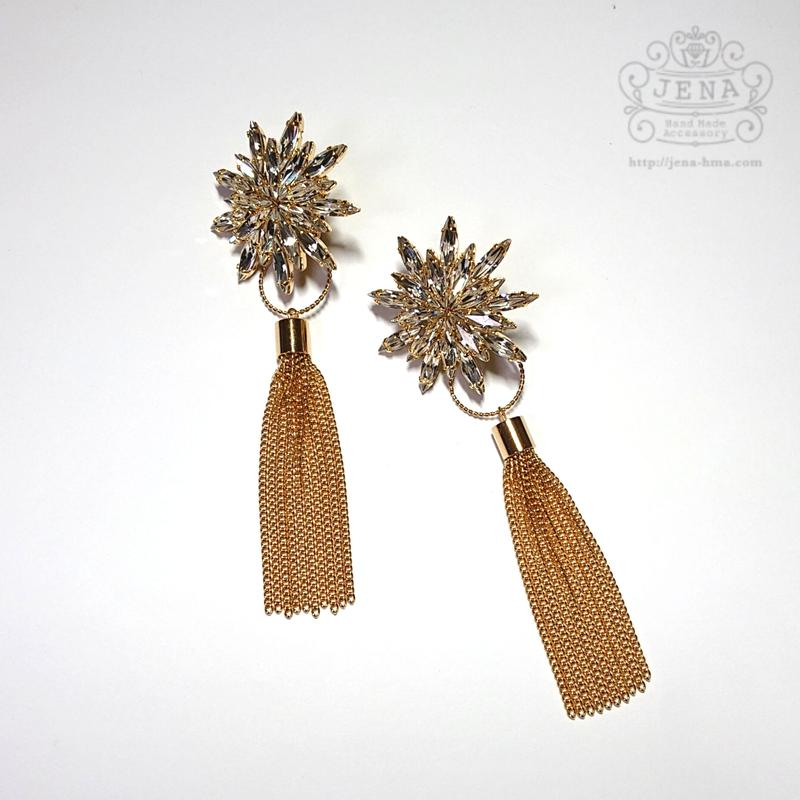 Dandelion × gold tassel 2ways イヤリング/ピアス