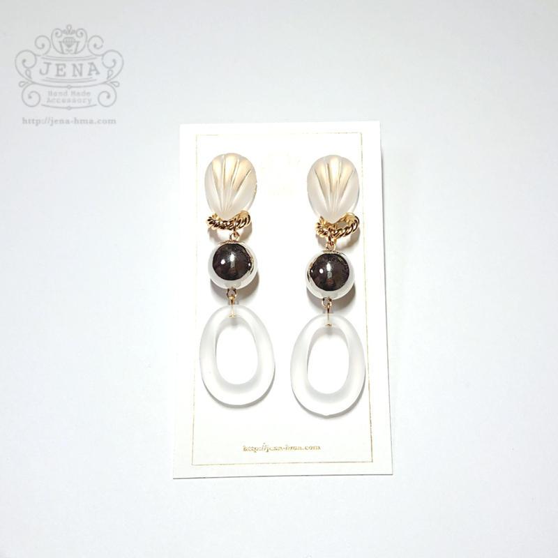 Acrylic hoop & Metallic 1 イヤリング/ピアス