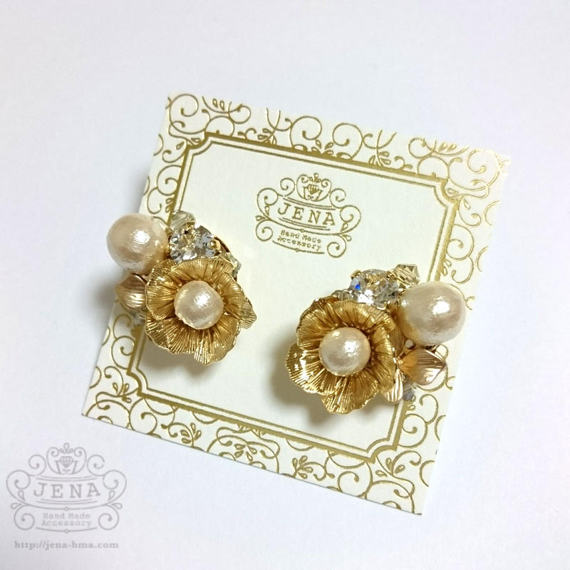 Spring flower 【cotton pearl】イヤリング/ピアス