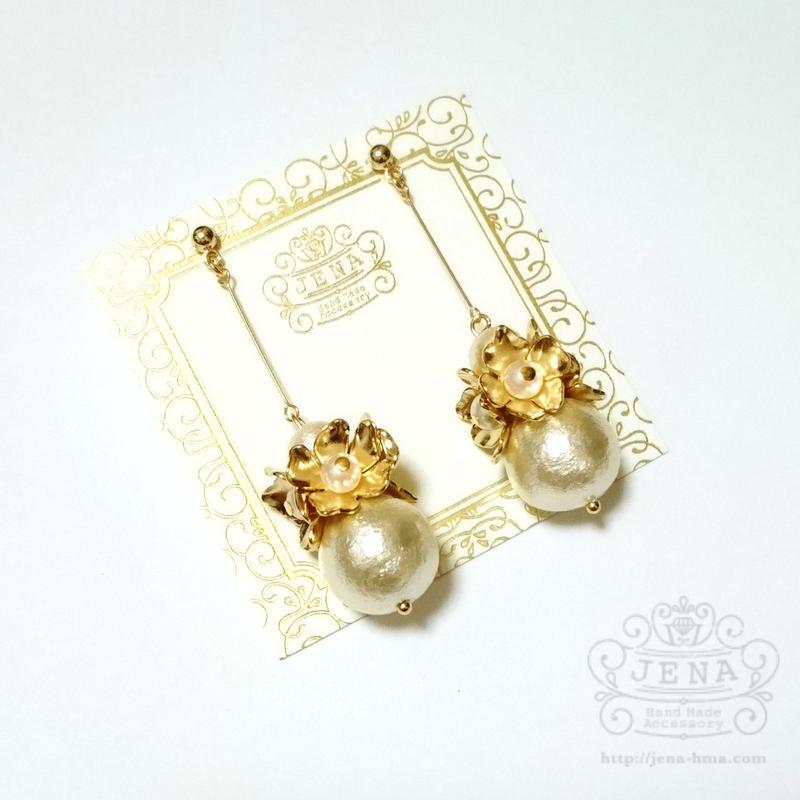 Pendulum Pearl with flowers  イヤリング/ピアス