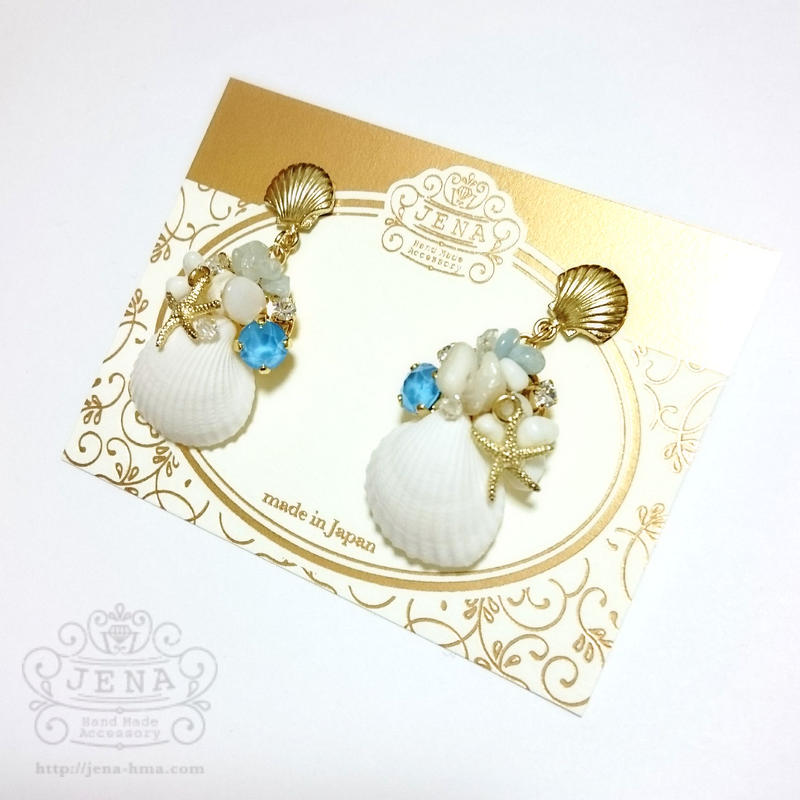Go to the SEA! REAL SHELL 【BLUE×Starfish】イヤリング/ピアス
