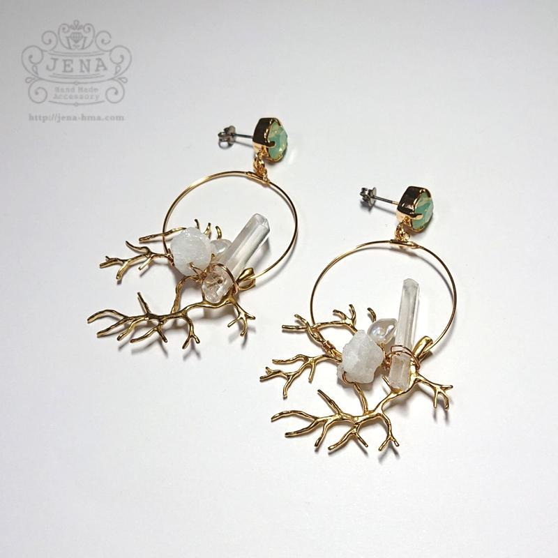 Coral branch Hoop 【hemimorphite×Chrysolite opal】  イヤリング/ピアス