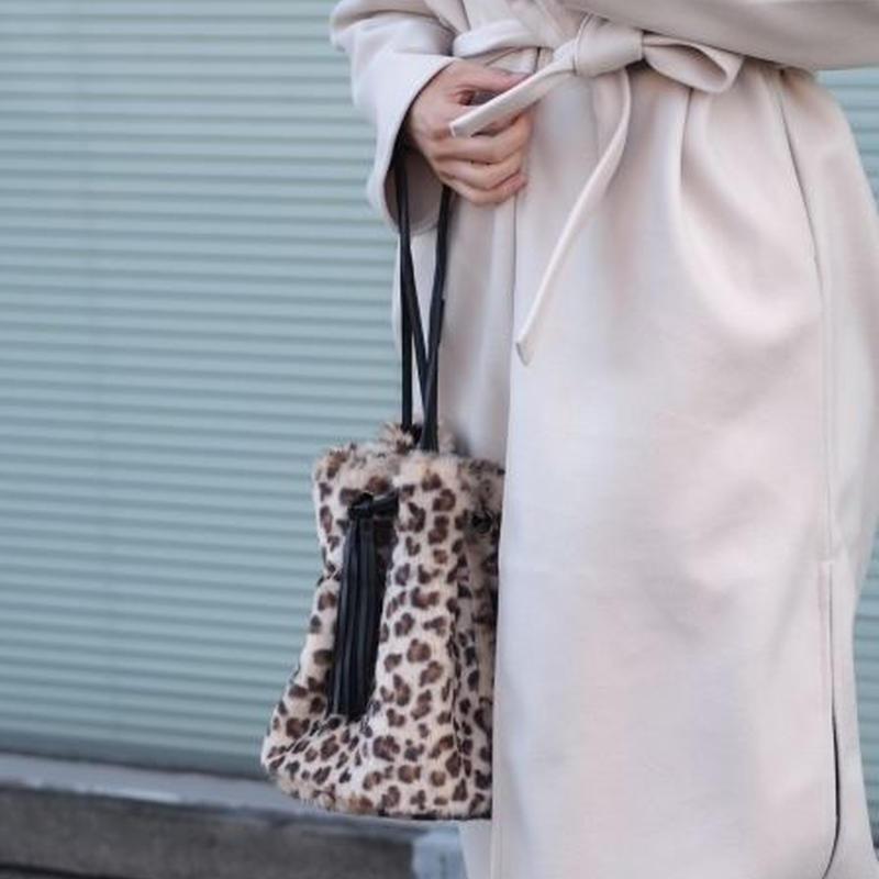 エコファー レオパード巾着バッグ
